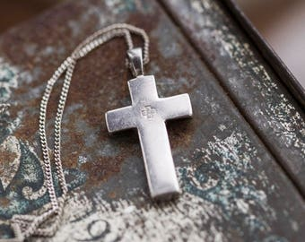 Minimalist Cross Necklace - Sterling Silver - Simple Crucifix Pendant of Chain