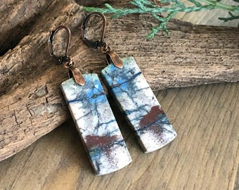 Azurite Earrings - mountain scene stone jewelry