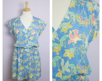 Vintage 1980's Blue Floral Silk Cap Sleeve Mini Dress M/L