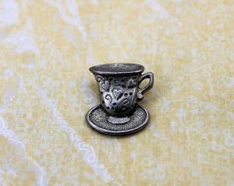 Cute Silver Tone (Pewter?) Teacup Pin / Brooch