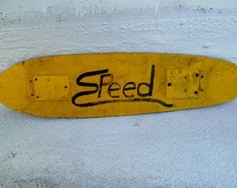 The Need for 'Speed' Vintage Skateboard Deck  - Collectible Rare One-of-a-kind Skateboard - 1950 -1960's