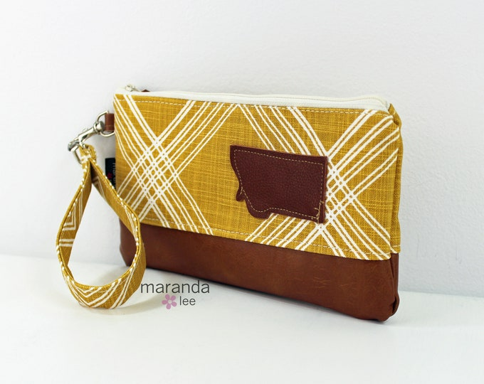 Flat Clutch - Colton Saffron with Montana Patch and PU Leather READY to SHIp