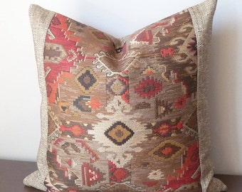 Ethnic Designer Throw Pillow, Southwestern  Aztec Woven Pillow, Regal Southwest Stylish Pillow Cover