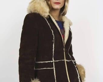70s Sheepskin Hooded Coat