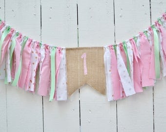 Birthday banner  - pink birthday banner - Girl Birthday Banner - 1st Birthday banner - mint and gold birthday - first birthday - girl banner