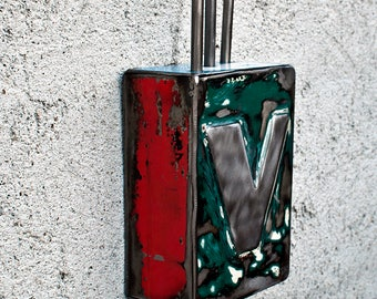 Recycled Tailgate Letter Sculpture 1948 Chevrolet  Letter V. Atomic Mid Century.