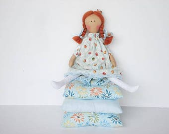 The Princess and the Pea rag doll, fabric doll, cloth doll fairy tale doll - princess doll red hair stuffed doll play set gift for girl