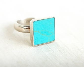 Square Turquoise Ring Size 6 .5 Vintage Mexican Blue Stone Jewelry Modern Minimalist Geometric