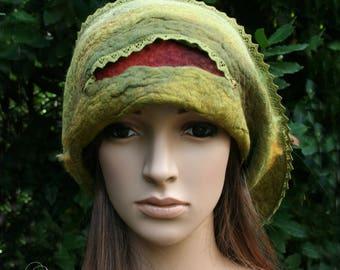 "Green, Tan and Burgundy silk and felt hat ""Viviane..."""