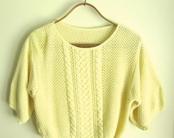 cropped sweater, cotton knit top, short sleeves, baggy loose slouchy crop top, yellow sweater, vintage 80s women medium