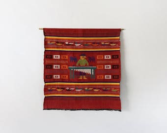 Vintage Guatemalan Red Cotton Embroidered Wall Hanging