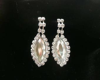 Rhinestone Dangle Earrings Super Sparklers Pierced Vintage Retro