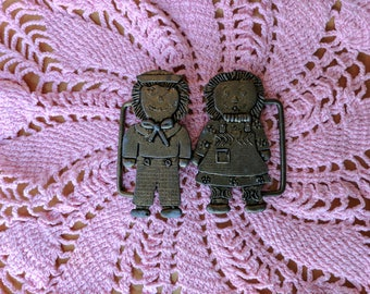 Vintage Starlight Belt Buckle Raggedy Ann and Andy 2970 *eb