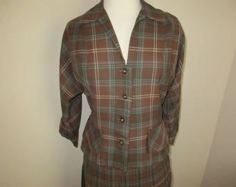 Vintage 1950 Brown Wool Plaid Suit Pleated Skirt