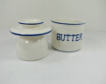Vintage BUTTER BELL CROCK White Pottery Dish Keeper Server