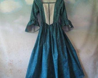 Girl's Renaissance Woodland Costume Dress: Renaissance Festival, OctoberFest, 19th Century, Gothic - All Cotton, Size 12, Ready To Ship Now
