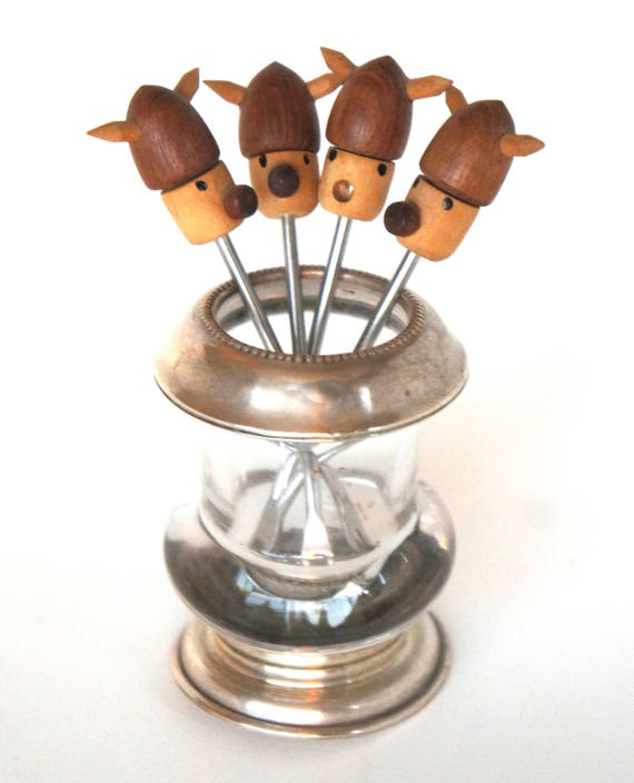 4 Danish Viking Cocktail Olive Picks Danish Modern Teak Figurine