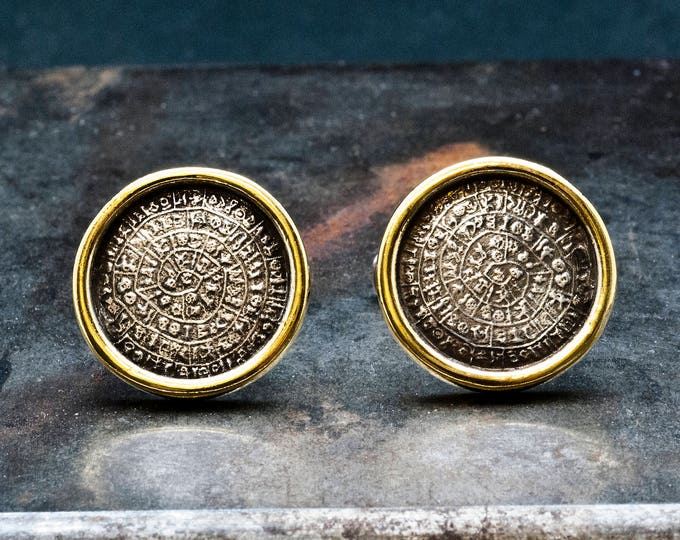 Featured listing image: Greek Phaistos Disc Cuff Links, Silver and Gold Cuff Links,