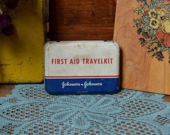 Vintage First Aid Travel Kit Advertising Medicine Toiletry Metal Tin Johnson & Johnson