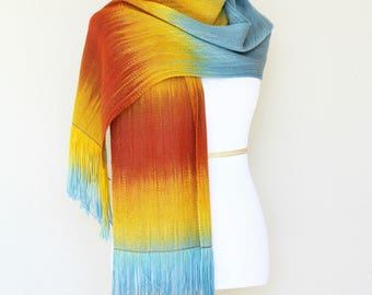 Pashmina scarf, gift for her, women scarf gradient color blue orange yellow long scarf with fringe