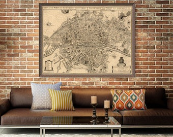 Old  map of Paris print - Paris map - Antique map of Paris - City map print - Archival print.