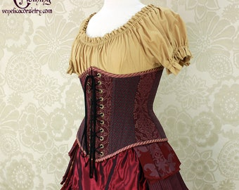 """Steampunk Plum, Teal, & Gold Patchwork Underbust Corset - Front Lacings - Corset Size 22, Best Fits Waist 25.5-27"""" - Ready to Ship"""