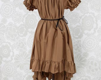 "Steampunk Ragamuffin Dress with Cora Sleeves in Honey Cotton -- Size Large, Fits Bust 40""-46"" -- Ready to Ship"