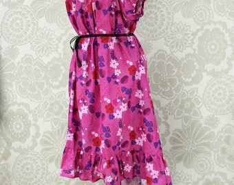 """Firefly Kaylee Inspired Steampunk Cap Sleeved Ragamuffin Dress in Pink Floral Cotton -- Size XXL, Fits Bust 48""""-56"""" -- Ready to Ship"""