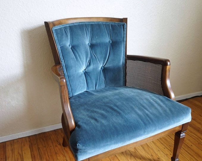 Vintage Tufted Blue and Woven Cane Armchair