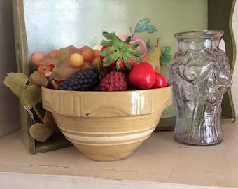 Antique Pickle Jar Cabbage RoseFlowers 1910