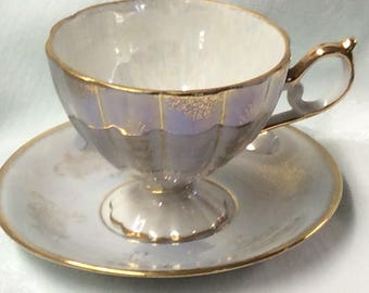 Vintage Lustre Tea Cup and Saucer Victorian Couple