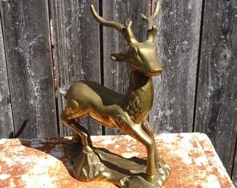 Vintage Standing Brass Stag Statue