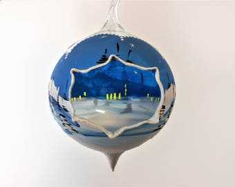 """European Blown Glass Igloo Christmas Decoration/Ornament Snow Covered Village/Town Blue, White, Igloo Opening 13"""" Tall 3 Available"""