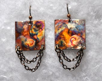 Copper Earrings - Squares with Chain - Flame Painted - Dangling - Steampunk Jewelry - Steampunk Earrings - Chain Earrings - Copper Jewelry