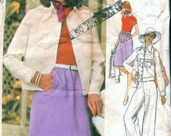 Great Vintage 1970s Vogue Americana 1061 Designer Anne Klein Jeans Style Jacket, Skirt, Pants and Bodysuit Sewing Pattern B36