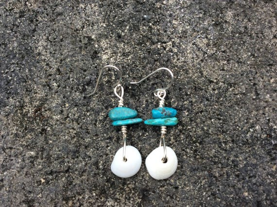 Hawaiian Puka Shell, Blue Turquoise Sterling Silver Earrings, 100% of this sale goes towards FUNDRAISING 4 MALU