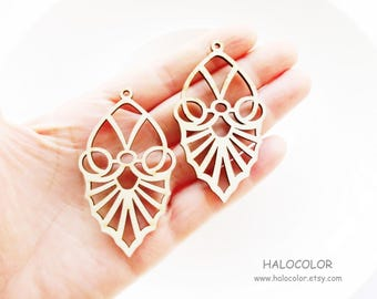 Dyeing Series - 6 Pcs 34 x  58mm Variety of Colors Filigree Gothic Style Wood Dangle/ Wooden Charm/Pendant NM408