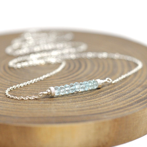 Aquamarine Necklace in Silver or Gold, March Birthday Gift, Gemstone bar Necklace, Aquamarine Silver Necklace, March Birthstone Jewelry