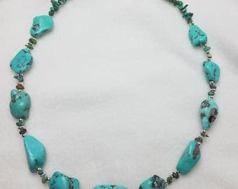 """Genuine Turquoise Nugget and Sterling Silver Necklace 19"""""""