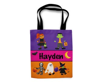 Halloween Personalized Tote Bags, Custom Tote bag, Trick or Treat Bag, Kids Tote Bag, Kids Personalized Gift