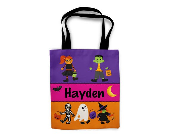 Personalized Halloween Bag, Trick or Treat Bag, Halloween Tote Candy Bag, Kids Halloween Tote Bag, Halloween Gift, Halloween Candy Bag