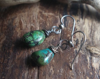 Rustic Sterling Silver wrapped Turquoise earrings - Turquoise boho earrings
