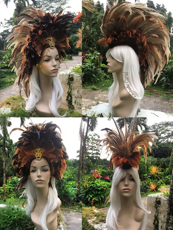 "Made to order: ""Nala"" Convertible Feather Mohawk Headdress; Mardi Gras, Lion, Costume, Cosplay, Parties, Masquerade, Festival, Carnaval"