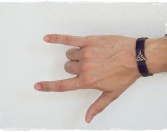 Leather Celtic Bracelet, Men's Leather Bracelet, Triquetra Bracelet, Trinity Knot Bracelet, Nordic Leather Cuff, Wiccan Pagan Bracelet Cuff