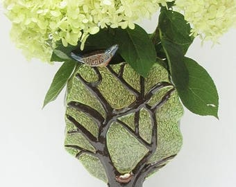 ceramics and pottery vase; ceramic art; hand built pottery; ceramic bird vase;ceramic sculpture