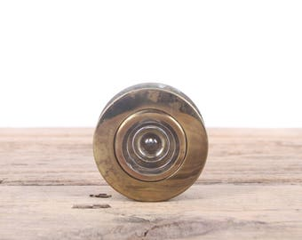 "Vintage Brass Door Peep Hole / 2.75"" Antique Brass Peep Hole / Old Door Peep Hole / Glass Peep Hole / Antique Peephole"