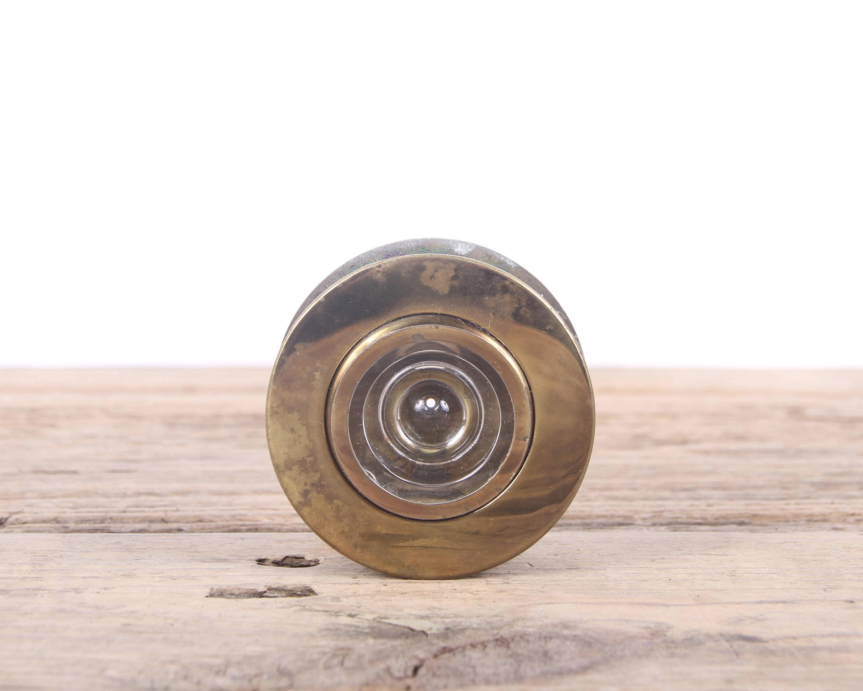 Vintage brass door peep hole antique brass peep hole old door peep hole glass peep - Antique peephole ...