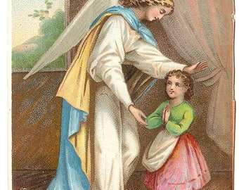 Guardian Angel & Child Antique Holy Prayer Card Beautiful Christian Catholic Devotional Card, Chromolithograph from Vintage Paper Attic