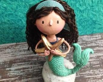 Joyful Mermaid Figurine - One of a Kind Art Sculpture