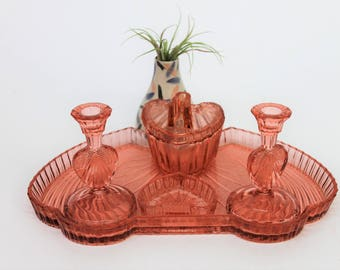 Art Deco Pink Cut Glass Dressiing Table/Vanity Set